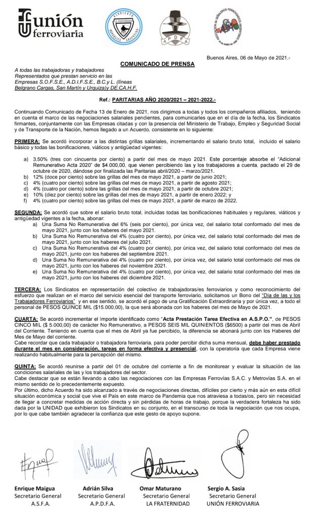 El acuerdo paritario de los ferroviarios.